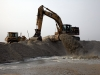 Pumping sand into the reclamation area