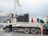 Pneumatic pump sending Concrete to build the bridge mold to cast the Bridge Foundation