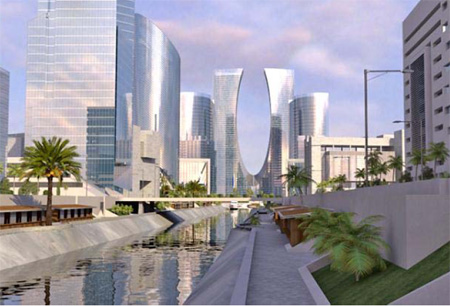 An artist's impression of how Eko Atlantic city will look. The five-mile sea wall is growing at the rate of 20ft a day