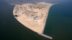 Eko Atlantic development are seen from the air